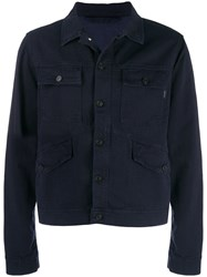 Paul Smith Ps Denim Shirt Panel Jacket Blue
