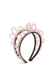 Simone Rocha Double Wiggle Crystal Embellished Hairband Pink