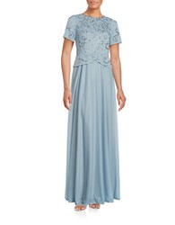 Decode 1.8 Embellished Short Sleeve Gown Slate Blue