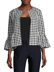August Silk Gingham Open Front Jacket Black Multi