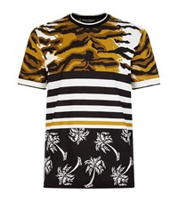 Dolce And Gabbana Leopard Print Palm Leaf T Shirt Male Brown