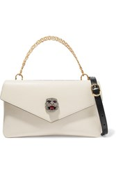 Gucci Thiara Embellished Printed Leather Shoulder Bag White