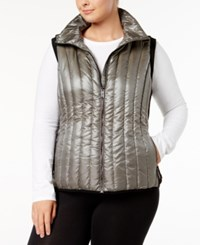 Calvin Klein Performance Plus Size Quilted Vest Metallic Olive Moss