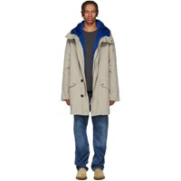 Yves Salomon Beige And Blue Fur Lined Parka