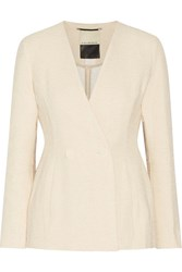 By Malene Birger Double Breasted Cotton Blend Tweed Blazer Cream