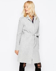 Noisy May Victory Belted Trench Coat Light Grey Melange