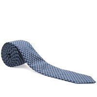 The Hill Side Covert Gingham Chambray Pointed Tie Blue