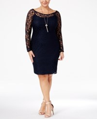 Love Squared Plus Size Lace Bodycon Dress Navy