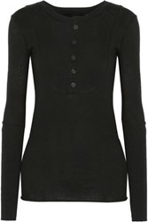 Enza Costa Cotton And Cashmere Blend Top Black