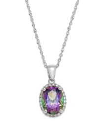 Macy's 14K White Gold Mystic Topaz 2 Ct. T.W. And Diamond Accent Pendant Necklace