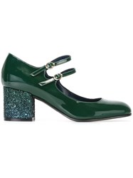 Pollini Glitter Heel Mary Jane Pumps Green