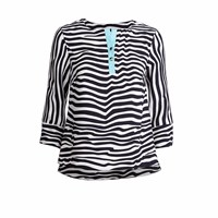 Conquista Fashion Blouse With Turquoise Detail Blue