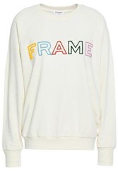 Frame Embroidered French Cotton Terry Sweatshirt Off White Off White