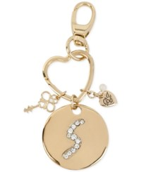 Betsey Johnson Gold Tone Crystal Initial Key Fob