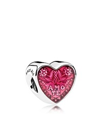 Pandora Design Charm Sterling Silver And Enamel Te Amo Heart Moments Collection Pink Silver