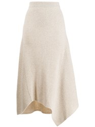 Pringle Of Scotland Knitted Asymmetric Skirt Neutrals