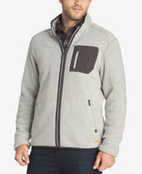G.H. Bass And Co. Men's Big And Tall Full Zip Fleece Sweater Silver Birch Heather