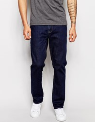 Asos Stretch Straight Jeans In Indigo Blue