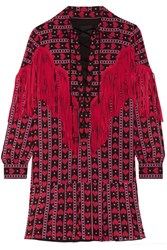 Anna Sui Fringed Printed Cotton And Silk Blend Mini Dress Red