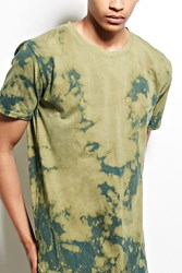 Forever 21 Entity Bleach Dye Cotton Tee Olive