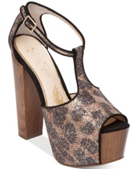 Jessica Simpson Dany T Strap Platform Dress Sandals Women's Shoes Leopard Chunky Glitter