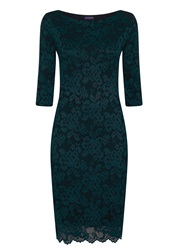 Hotsquash Long Sleeved Lace Dress With Thinheat Bottle Green