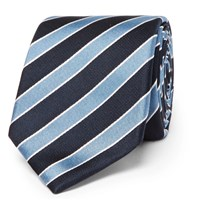 Hugo Boss 7.5Cm Striped Silk Jacquard Tie Blue