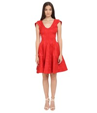Zac Posen Party Jacquard Cap Sleeve Fit And Flare Dress Ruby