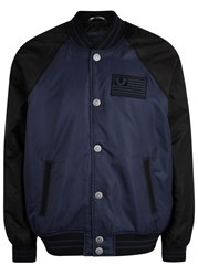 True Religion Navy Padded Shell Bomber Jacket