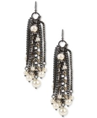 Inc International Concepts Hematite Tone Imitation Pearl Fringe Drop Earrings Only At Macy's Gray