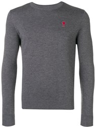Ami Alexandre Mattiussi Crewneck Sweater De Coeur Patch Grey