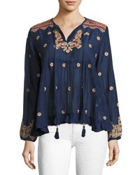 Max Studio Embroidered Voile Top Navy
