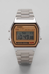 Casio Chrome And Gold Digital Watch Silver