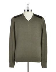 Guess Faux Leather Paneled Sweater Green