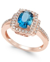 Macy's Blue Topaz 1 1 3 Ct. T.W. And Diamond 1 3 Ct. T.W. Ring In 14K Rose Gold London Blue Topaz