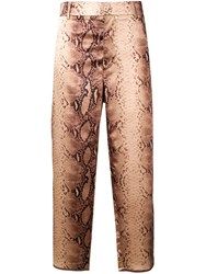 Jejia Claire Python Print Trousers Brown