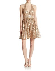Hailey Logan Metallic Halter Dress Taupe