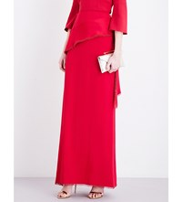Antonio Berardi High Rise Crepe Maxi Skirt Red