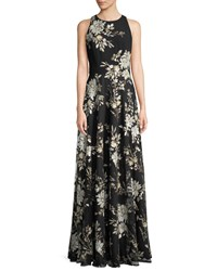 Carmen Marc Valvo Sleeveless Floral Sequin Gown Black Gold