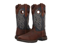Durango Rebel 12 Western Wp Square Steel Toe Dark Brown Blue Cowboy Boots