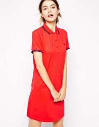 Fred Perry Polo Shirt Dress Hibiscuspink