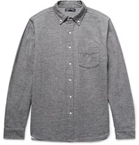 Alex Mill Button Down Collar Herringbone Cotton Flannel Shirt Anthracite