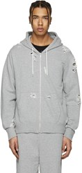 Miharayasuhiro Grey Distressed Zip Up Hoodie