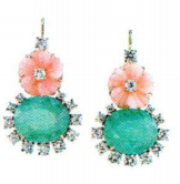 Irene Neuwirth One Of A Kind 18K Rose And White Gold Earrings With Carved Pink Opal Flowers 8.04Cts Colombian Emerald 26.80Cts And Full Cut Diamonds 3.52Cts Green
