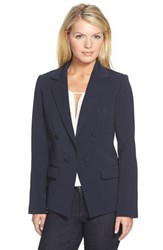 Petite Women's Ellen Tracy Double Breasted Suiting Jacket Navy