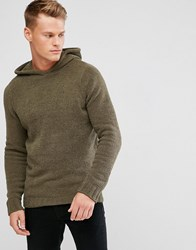 D Struct Knitted Chenille Hooded Jumper Green