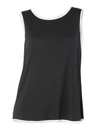 Isaac Mizrahi Tank With Contrast Trim Black White
