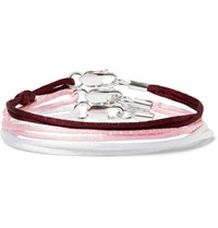 Rubinacci Set Of Three Silk And Sterling Silver Bracelets Burgundy