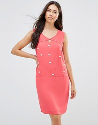 Lavand Embellished Shift Dress In Blush Fuxia Purple