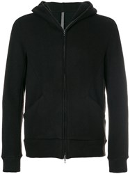 Attachment Hooded Zipped Jacket Cotton Camel Hair Black